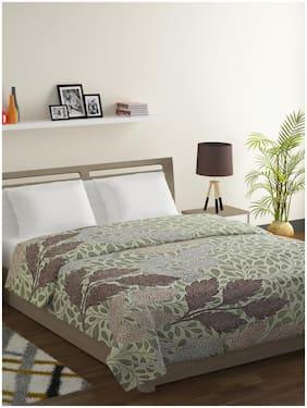Swayam Sparkle-Cotton Blend 120 TC;Microfiber Fill 150 GSM -Floral pattern-Double Comforter;Green;Brown