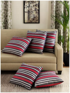 Swayam Striped Cushions Cover (Pack Of 5;30 Cmx30 Cm;Multi)