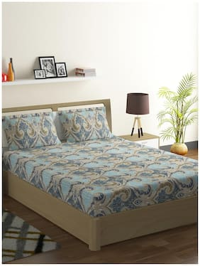 Swayam Cotton Printed Double Size Bedsheet 144 TC ( 1 Bedsheet With 2 Pillow Covers , Multi )