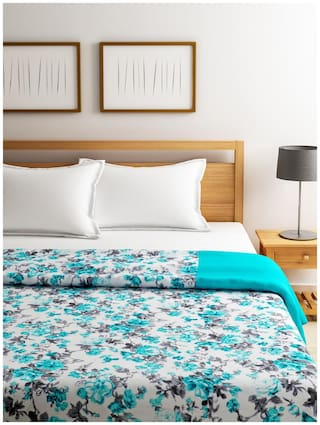 SWAYAM Teal and White Colour Valley of Flower Single Dohar