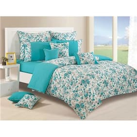 Swayam Teal and White Colour Floral Single Winter Quilt