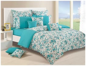 Swayam Teal and White Colour Floral Double Winter Quilt