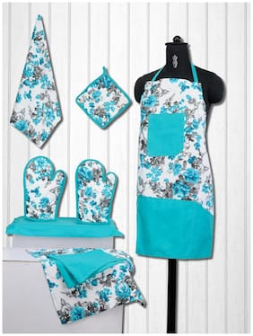 Swayam Cotton Apron Turquoise ( Pack of 1 )