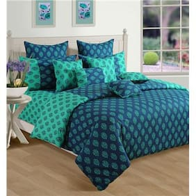 Swayam Turquoise and Blue  Motifs Double Winter Quilt