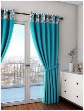 Swayam Turquoise   Premium Lining Plain Eyelet Curtain for Door