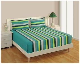 Swayam Turquoise and White  Stripes Double Bed Sheet with Pillow Covers