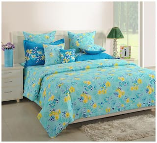 Swayam Cotton Floral Single Size Bedsheet 144 TC ( 1 Bedsheet With 1 Pillow Covers , Turquoise )
