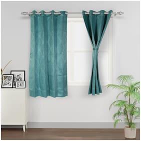 Swayam Silk Window Blackout Turquoise Regular Curtain ( Eyelet Closure , Motif )