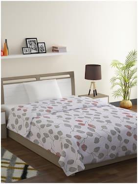 Swayam Veda-100% Cotton 144 TC;Microfiber Fill 150 GSM -Floral pattern-Single Comforter;Grey;Off-white