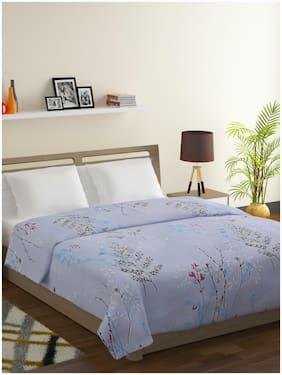 Swayam Veda-100% Cotton 144 TC;Microfiber Fill 150 GSM -Floral pattern-Double Comforter;Blue