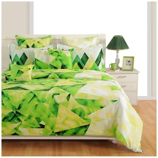 Swayam Cotton Geometric Double Size Bedsheet 200 TC ( 1 Bedsheet With 2 Pillow Covers , White )