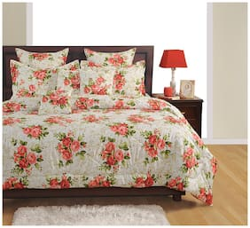 Swayam Cotton Floral King Size Bedsheet 160 TC ( 1 Bedsheet With 2 Pillow Covers , White )