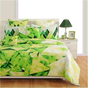 Swayam Cotton Geometric Single Size Bedsheet 144 TC ( 1 Bedsheet With 1 Pillow Covers , White )