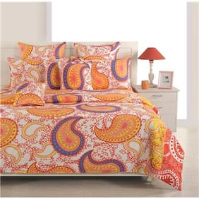 Swayam Cotton Geometric Single Size Bedsheet 144 TC ( 1 Bedsheet With 1 Pillow Covers , Yellow )