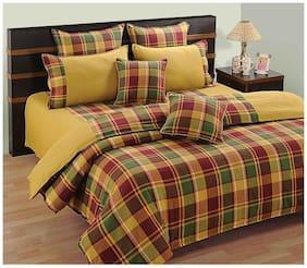 Swayam Cotton Geometric Single Size Bedsheet 144 TC ( 1 Bedsheet With 1 Pillow Covers , Yellow )