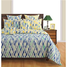 Swayam Cotton Geometric King Size Bedsheet 144 TC ( 1 Bedsheet With 2 Pillow Covers , Yellow )