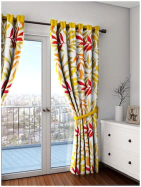 Swayam Yellow  Leaf Premium Lining Printed Eyelet Curtain for Door