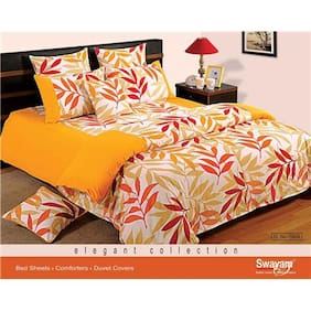 Swayam Yellow and Green  Leaf Pattern Single Winter Quilt