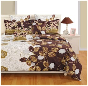 Swayam Cotton Striped Double Size Bedsheet 160 TC ( 1 Bedsheet With 2 Pillow Covers , Brown )