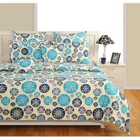 Swayam Navy Blue and White  Floral Double Bed Sheet with Pillow Covers