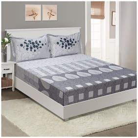 Swayam Cotton Geometric King Size Bedsheet 210 TC ( 1 Bedsheet With 2 Pillow Covers , Grey )
