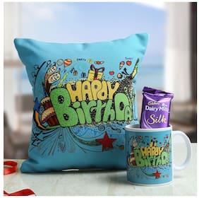 Ferns N Petals Sweet Birthday Hamper Gift Combo ( 1 cushion, 1 Mug, 1 Chocolate )