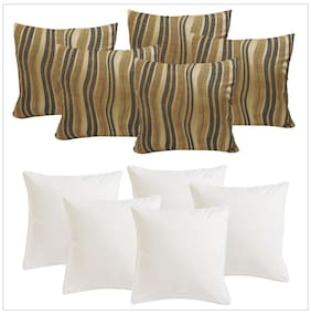 Swhf Black And Gold Stripes Cushion Cover With Fillers Set Of 5