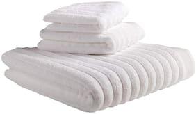 SWHF 600 GSM Cotton Bath towel ( 3 pieces , White )
