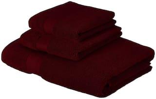 SWHF 600 GSM Cotton Bath towel ( 3 pieces , Red )
