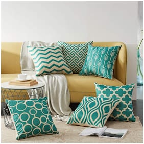 SWHF Velvet Printed Cushion Cover, Set of 6:Lime Green