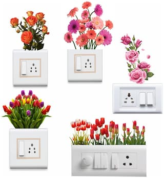 Switchboard Sticker Beautiful Flowers Wall Sticker For Light Switch ( Switchboard Stickers )
