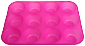 SYGA 12 Round Cup Silicone Muffin Cupcake Baking Pan Non Stick Dishwasher Microwave Safe_Pink