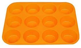 SYGA 12 Round Cup Silicone Muffin Cupcake Baking Pan Non Stick Dishwasher Microwave Safe_Orange