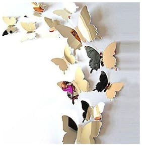SYGA 12pcs 3D Decorative Silver Mirror Butterfly Wall Stickers