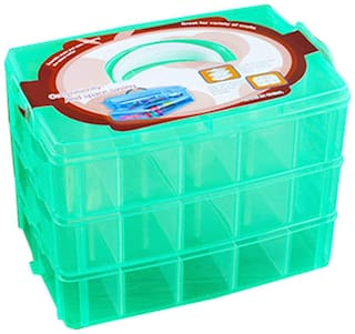 SYGA 3-Tray Transparent Plastic Storage Box with Collapsible and Removable Dividers(24.5 X 16.5 X 18Cm)_Green