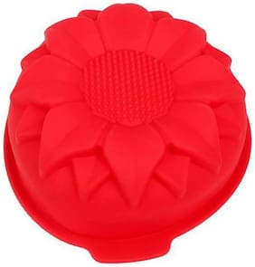 SYGA Big Sunflower Silicone Cake, Jelly, Pudding, Mousse, Bread DIY Baking Mould_Red