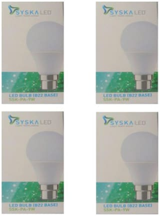 Syska 9 Watt B22 LED Bulb (Pack of 4)