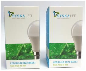 Syska 9 Watt B22 LED Bulb (Pack of 2)