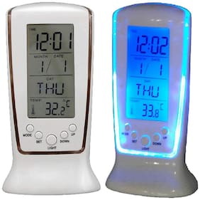 MARKETWALA White Table clock & Alarm clock