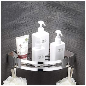Tagve Shower Caddy Storage Basket Bathroom Corner Shelf with Hooks-Wall Mounted Rack for Kitchen 304 Stainless Steel with Polished Finish(Corner)