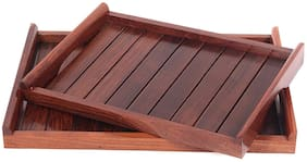 Tailos Rosewood Sheesham Wood Handmade & Handcrafted Wooden Large Size Serving Tray (Set of 2)