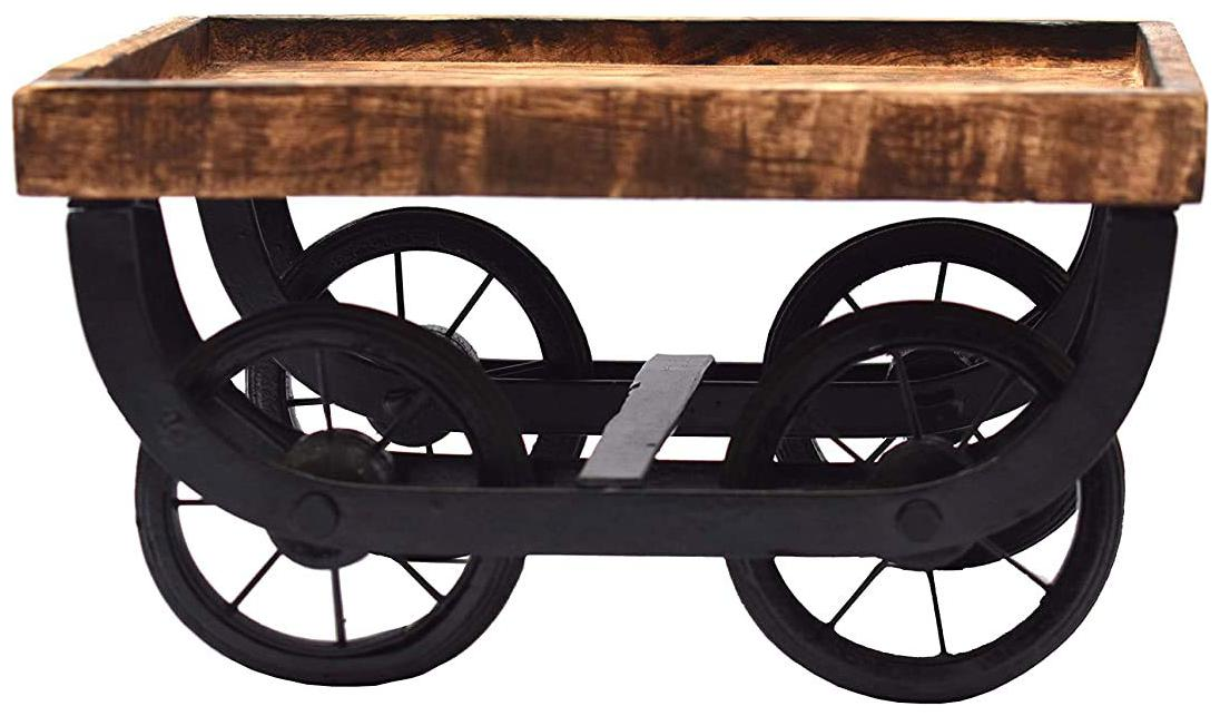 Tailos Wood Cart Snack Serving Platter for Dining Table