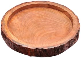 Tailos Wood handcrafts Beautiful Table Decor Round Shape Wooden Serving Tray/Platter for Home and Kitchen