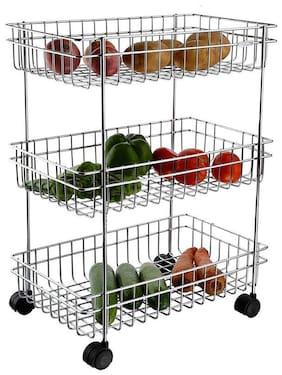 Takdir Enterprise Multipurpose Stainless Steel 3 Layer Vegetable and Fruit Kitchen Trolley ( Silver - Medium )