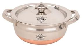 Taluka (34.29 cm (13.5 Inch) x 21.59 cm (8.5 Inch) approx)Stainless Steel Copper Bottom Handi / Pot Steel Inside Capacity :- 1000 ML Restaurant Ware Hotel Ware Home Ware Gift Item