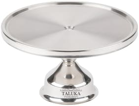 """Taluka (13"""" X 4"""" Inch) Stainless Steel Non revolving Round Shape Desert Stand Cake Stand Stainless Steel Cake Server Pizza Stand"""