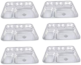 Taluka (13 x 10.7x1 inch) Pure Stainless Steel 5 in 1 Compartment Plate Thali Bhojan Thali Steel Plate Food Dinner Snacks Plate OF 6