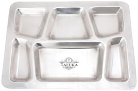 "Taluka (15.7"" x 11.9"" in approx) Pure Stainless Steel 6 in 1 Compartment Plate Thali Bhojan Thali Steel Plate"
