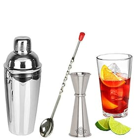 Taluka 3 pc Stainless Steel Wine and Cocktail Bar Set- 750 ML Wine Shaker Measuring Jigger and Mixing Bar Spoon (1 Bar Spoon+1 Measure Jigger+1 Cocktail Wine Shaker)