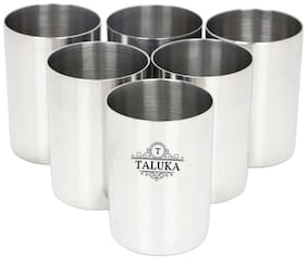 "Taluka ( 3 x 4"") Pure Stainless Steel Glass Round SET OF 6 WATER Serving Purpose Steel Glass Home Hotel Drinkware STEEL GLASS"
